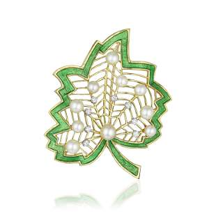 Diamond Cultured Pearl and Enamel Leaf Brooch