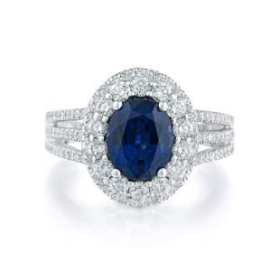 2.79-Carat Thai Unheated Sapphire and Diamond Ring