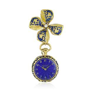 Tiffany & Co. Brooch Watch in 18K Gold with Blue Enamel