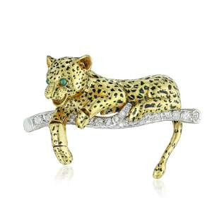 Diamond Emerald and Enamel Leopard Brooch