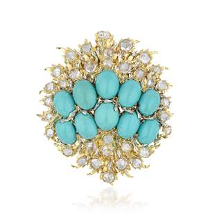 Buccellati Turquoise and Diamond Brooch