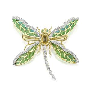 Enamel and Citrine Dragonfly Brooch