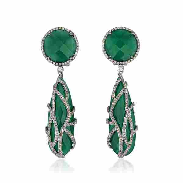 Green Onyx and Diamond Earrings