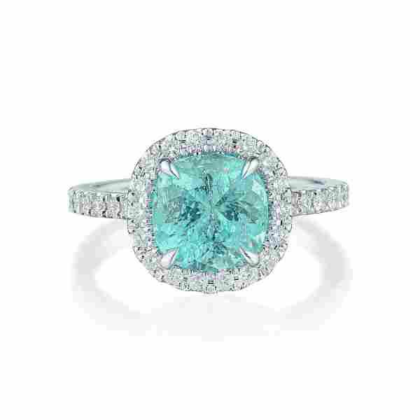 2.14-Carat Paraiba Tourmaline and Diamond Ring