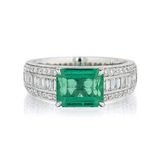 2.18-Carat Fine Colombian Emerald and Diamond Ring