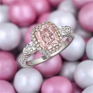 2.01-Carat Natural Fancy Pink Diamond Ring