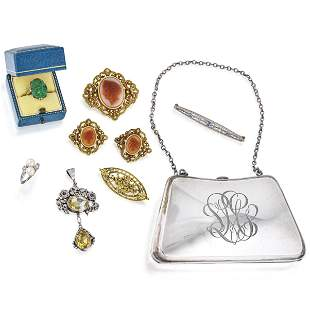 Group of Jewelry and Silver Purse