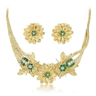 Emerald and Diamond Bee and Flower Motif Necklace and