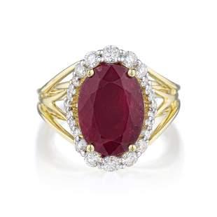 6.74-Carat Unheated Ruby and Diamond Ring