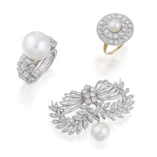 Group of Vintage Cultured Pearl and Diamond Jewelry