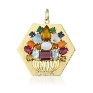 Vintage Multi-Gemstone Flower Basket Pendant