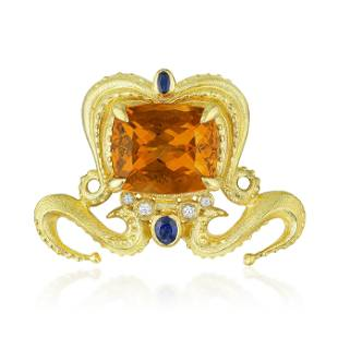 Citrine Diamond and Sapphire Octopus Pendant