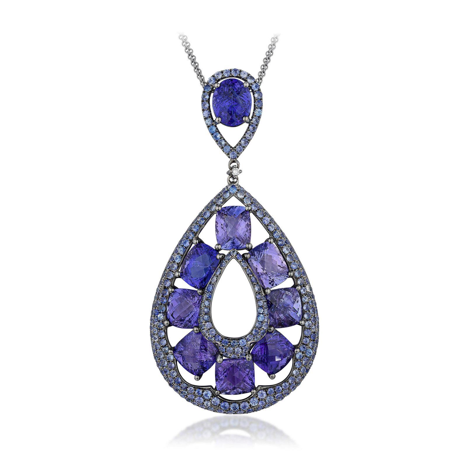 Tanzanite Sapphire and Diamond Pendant Necklace