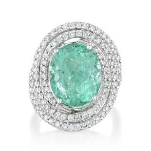 8.47-Carat Colombian Emerald and Diamond Swirl Ring,