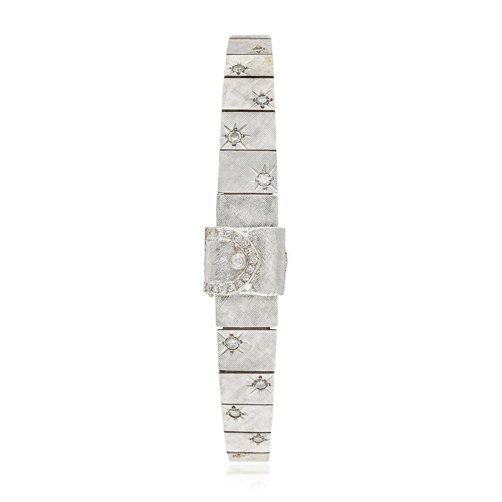 La Femme Concealed Watch Bracelet in 14K White Gold