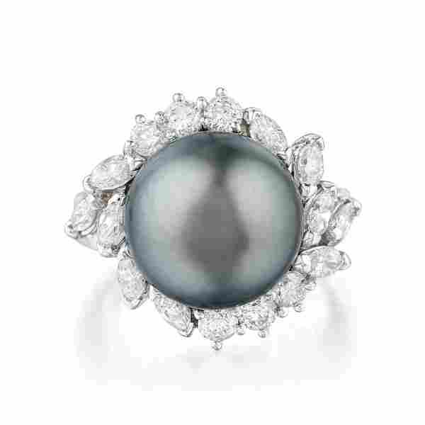 Tahitian Cultured Pearl and Diamond Ring