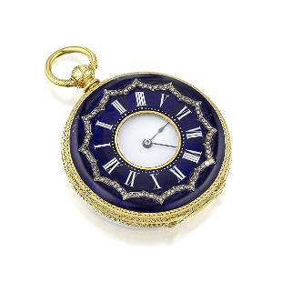 Muller Demi-Hunter Case Pocket Watch in 18K Gold and