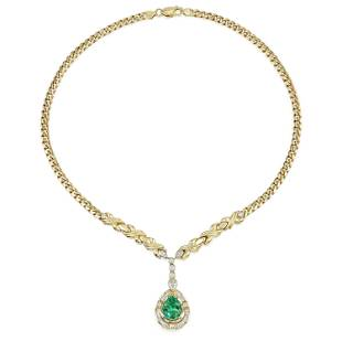Colombian Emerald and Diamond Necklace, AGL Certified