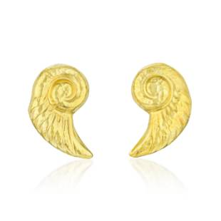 Hammered Gold Shell Earclips