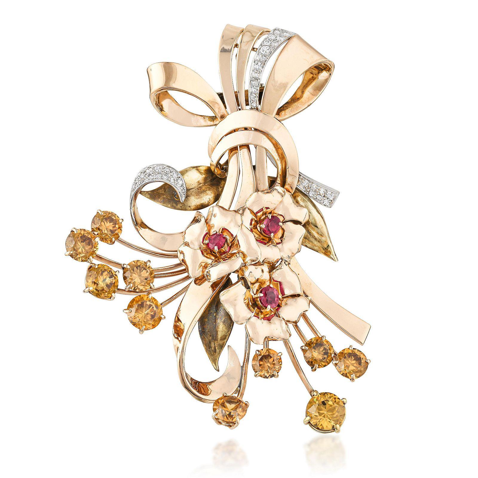 Retro Multi Gemstone and Diamond Bouquet Brooch