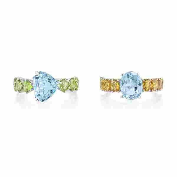 Pair of Adamas Multi-Colored Gemstone Rings