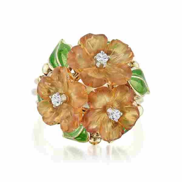 Citrine Diamond and Enamel Flower Ring