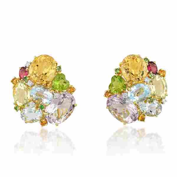 Multi-Gemstone and Diamond Earrings