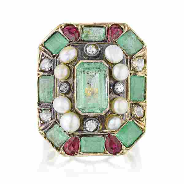 Vintage Emerald Ruby Diamond and Natural Pearl Ring