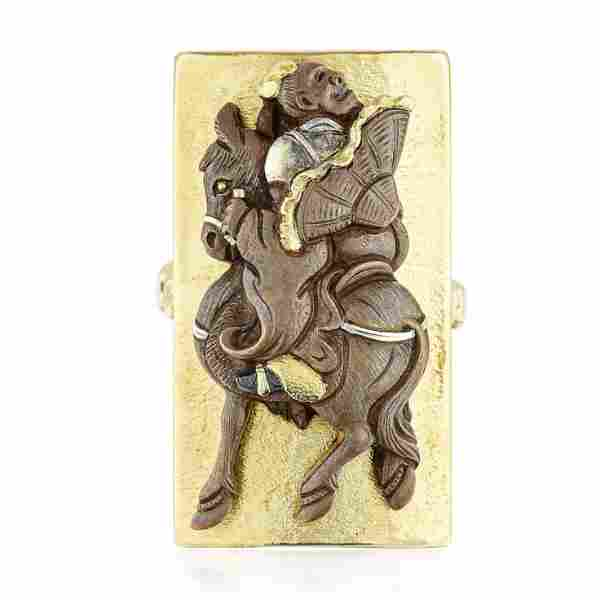 Vintage Japanese High Relief Man on Horse Ring