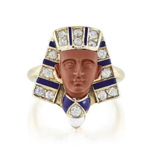 Antique Egyptian Revival Diamond and Enamel Ring