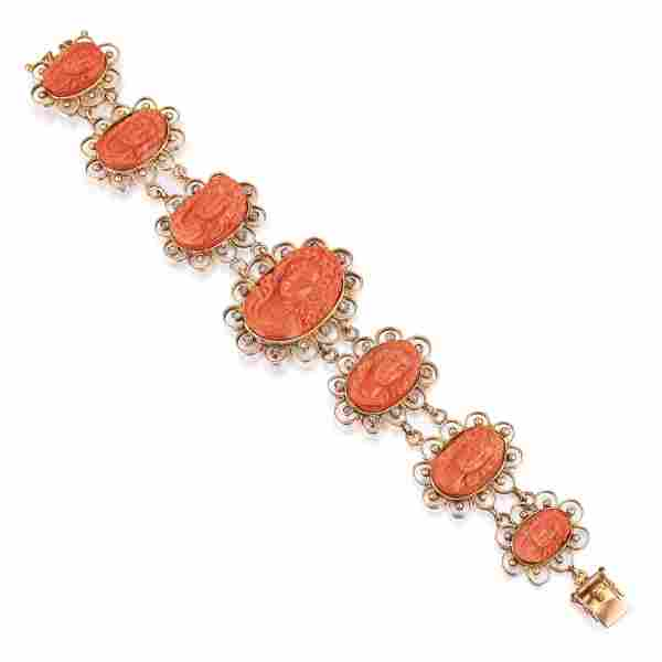 Antique Coral Cameo Bracelet