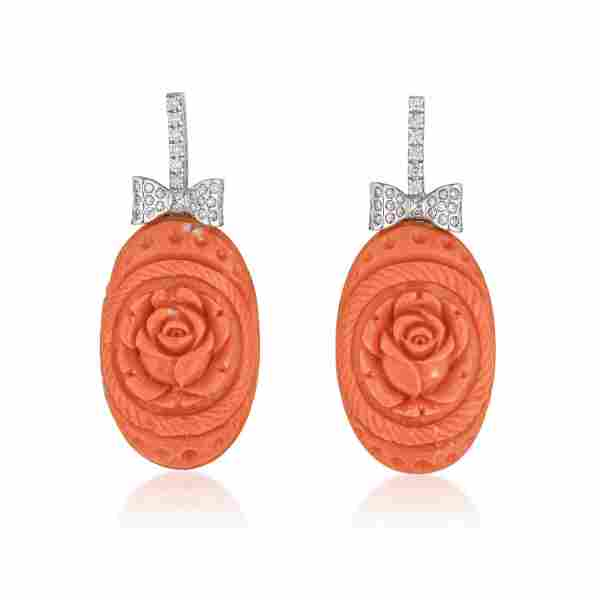 Carved Coral Drop and Diamond Earrings