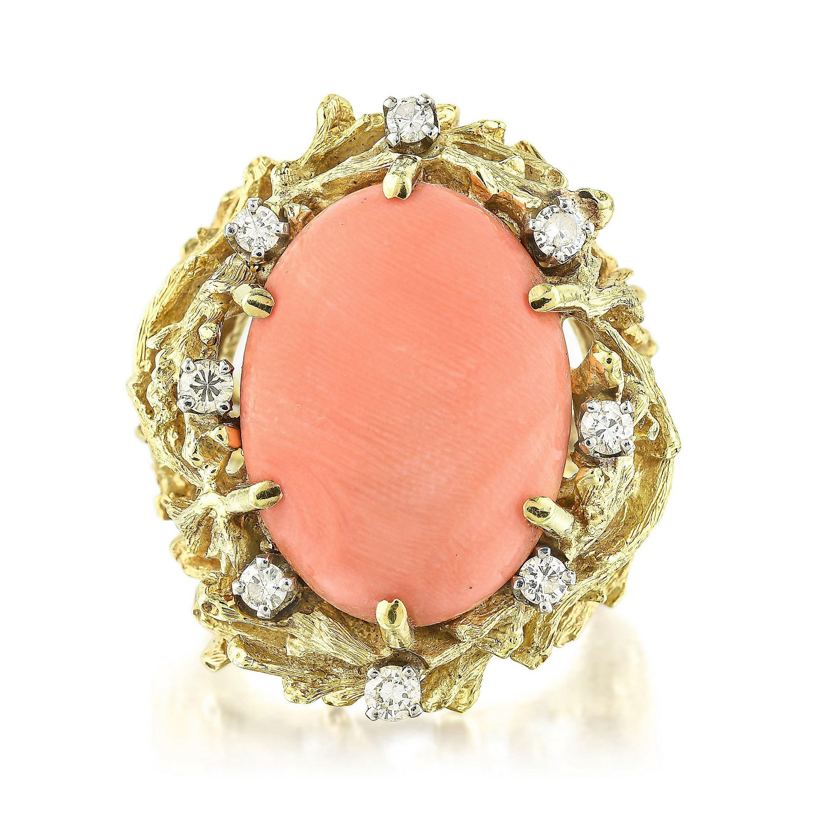 Vintage Coral and Diamond Ring