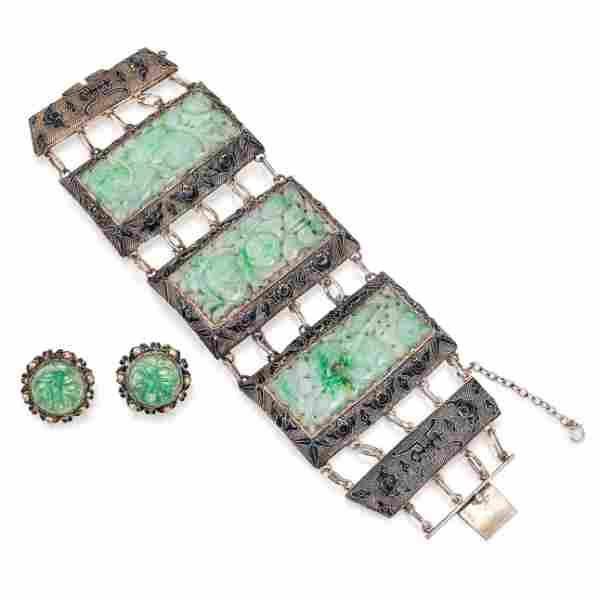 Antique Carved Jade Earclips and Large Bracelet Set