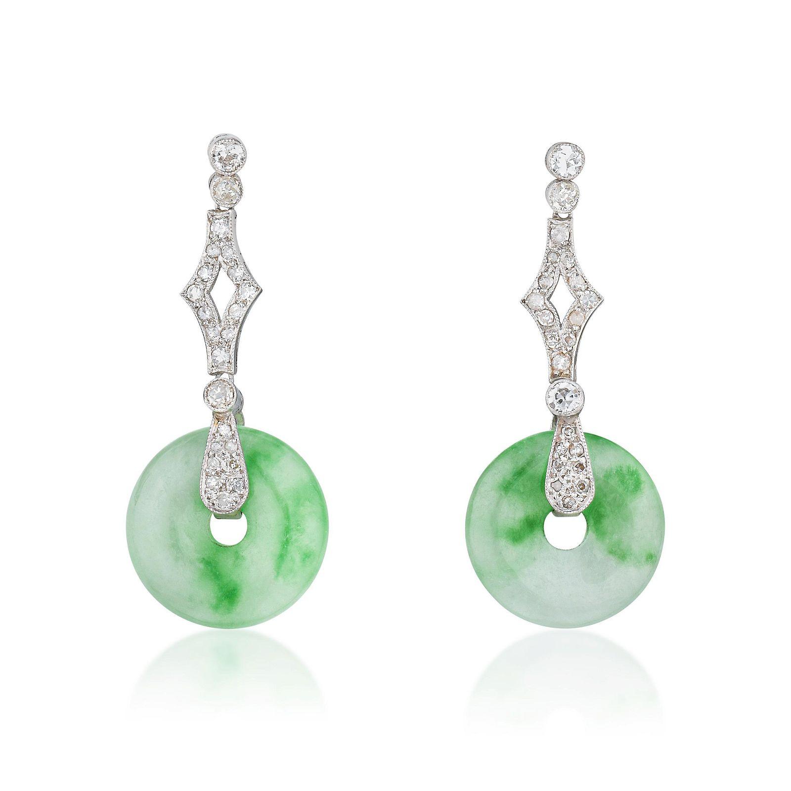 Art Deco Jade and Diamond Earrings