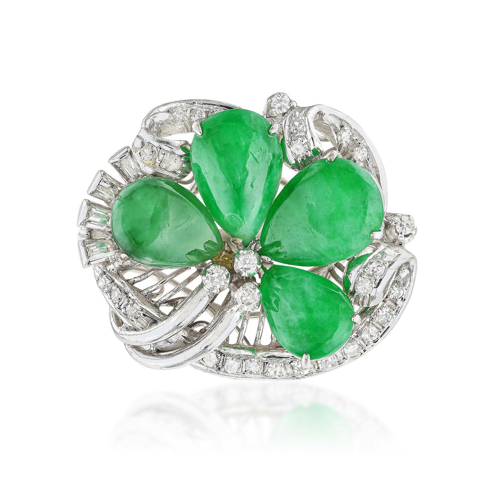 Vintage Jade and Diamond Flower Ring