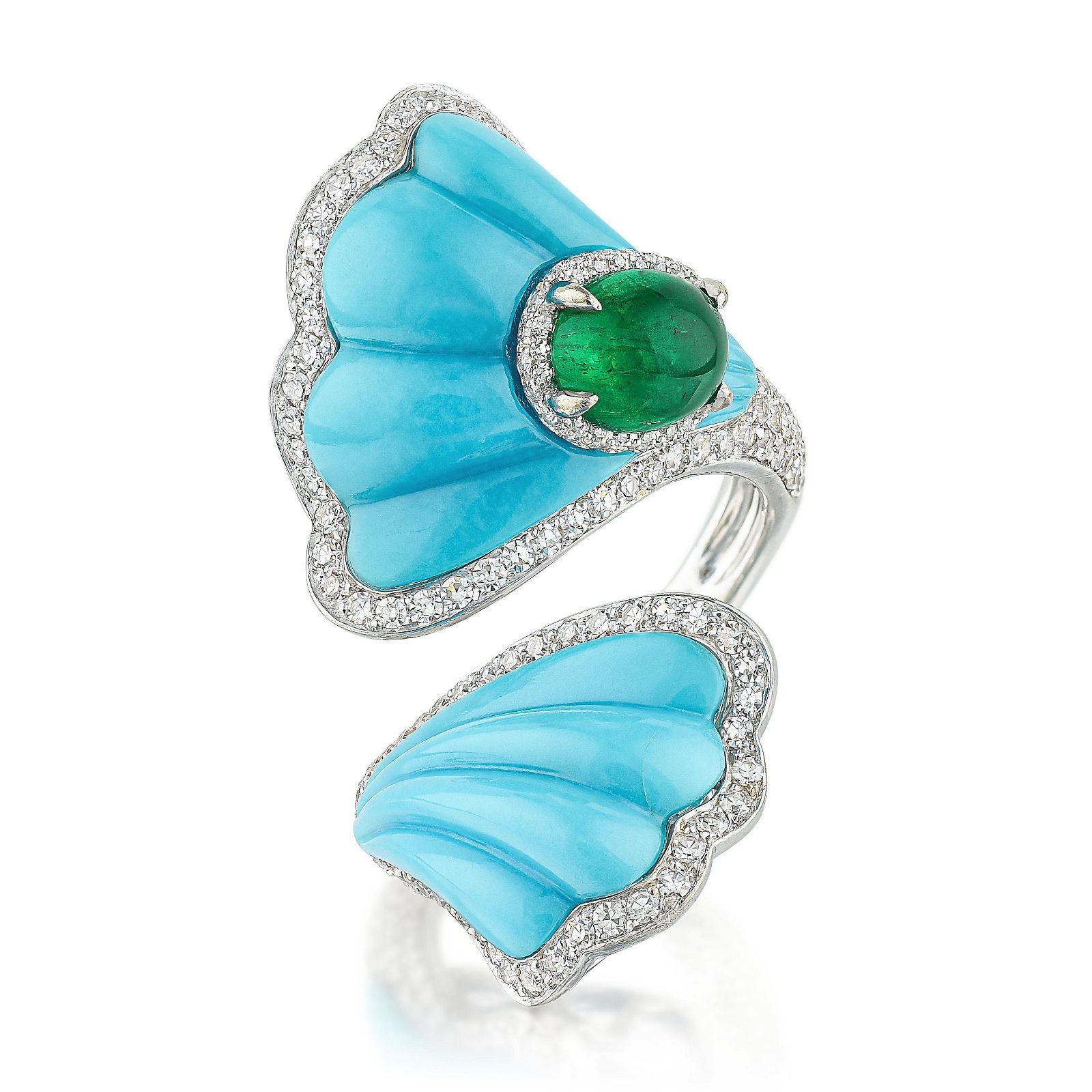Ambrosi Emerald Turquoise and Diamond Ring