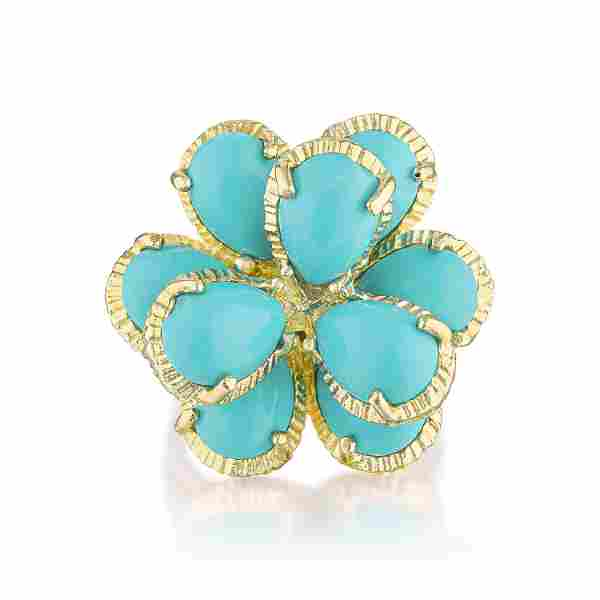 Vintage Turquoise Flower Ring