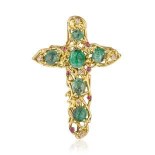 Vintage Emerald Cross Pendant