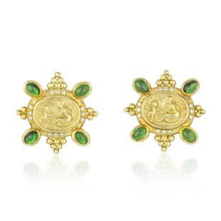 Lady and Cherub Peridot and Diamond Earrings