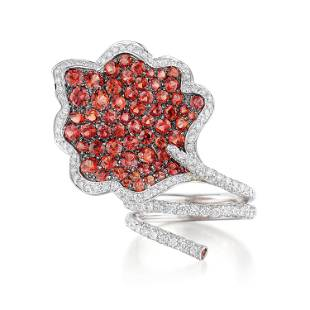 Ambrosi Diamond and Sapphire Maple Leaf Ring
