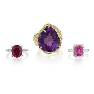 Group of Gemstone Rings