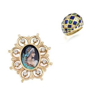 Enamel Diamond and Emerald Ring, Hand-Painted Diamond