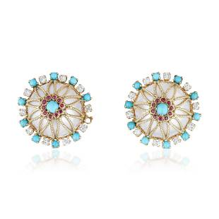 Mabe Pearl Turquoise Ruby and Diamond Earclips