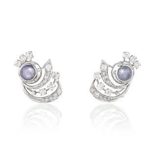 Art Deco Star Sapphire and Diamond Earclips