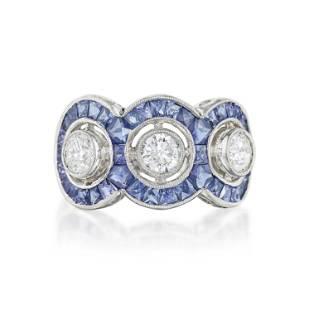 Three Diamond and Sapphire Ring