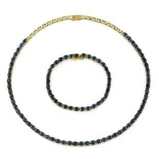 Unheated Sapphire Line Bracelet and Necklace Set