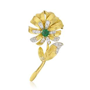 Vintage Emerald and Diamond Flower Brooch