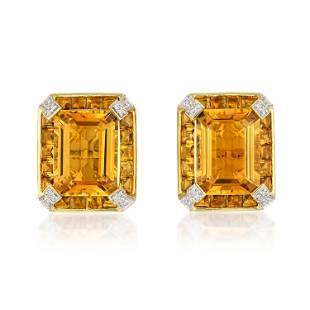 Sculptural Citrine and Diamond Earclips