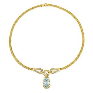 Aquamarine and Diamond Pendant Necklace
